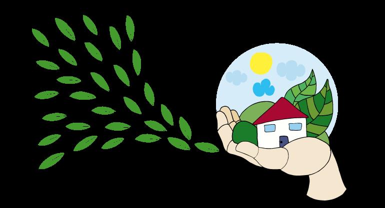 ilustración de una casa rodeada de naturaleza sobre una mano de madera
