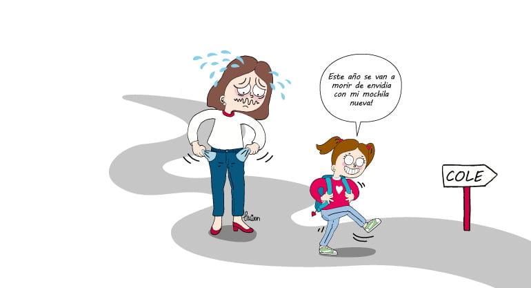 ilustración de una madre llevando a su hija al colegio