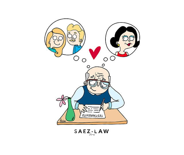 ilustración de un señor mayor escribiendo su testamento