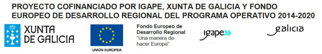 Título del proyecto y logotipos del xunta, unión europea, igape y galicia